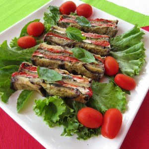 Roasted Eggplant & Red Pepper Basil Terrine